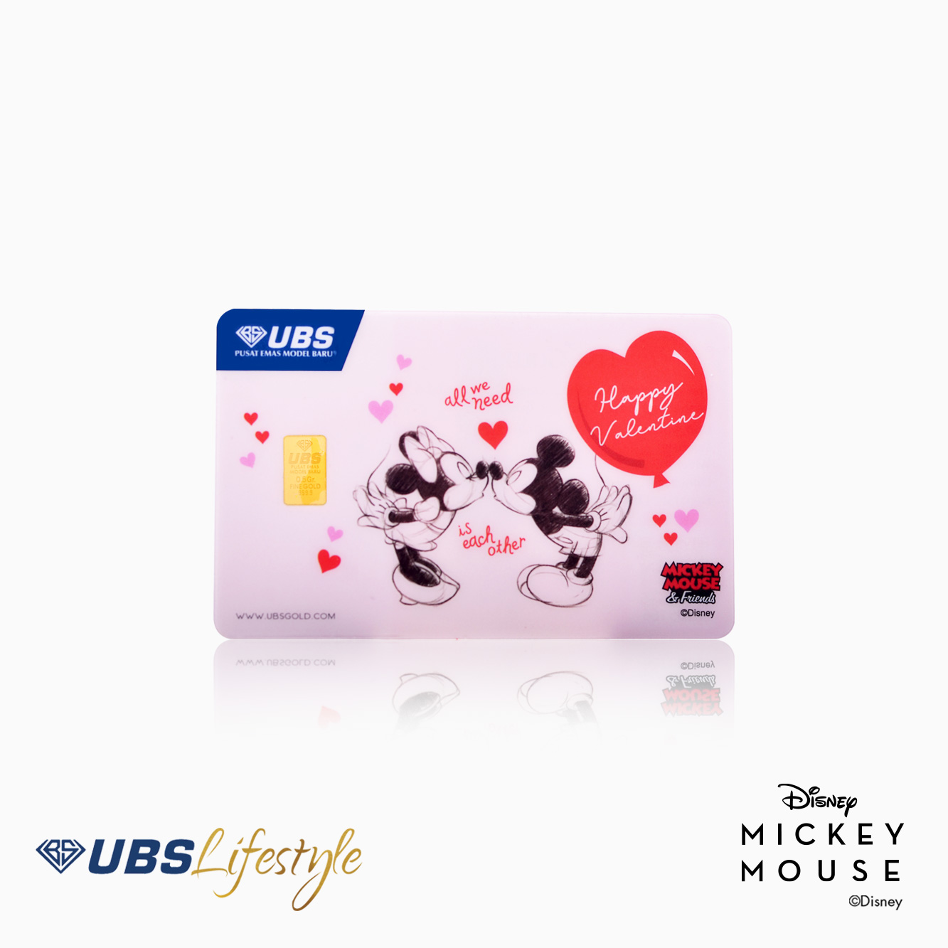 FINE GOLD DISNEY MICKEY & MINNIE MOUSE VALENTINE EDITION 0.5 GR